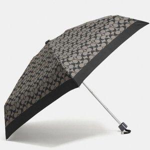 COACH Logo Black Gray Mini Umbrella